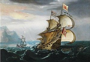 Sebastian Castro (painter) - A Dutch Merchant Vessel in Choppy Waters near a Rocky Coast, Whales Nearby