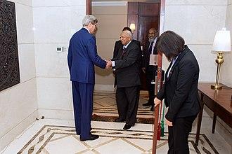 R. Sampanthan - U. S. Secretary of State John Kerry meets Sampanthan in May 2015.