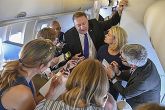 Political journalism - Members of the press ask questions of US Secretary of State Mike Pompeo
