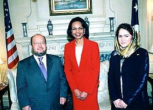 Fawzia Koofi - Then U.S. Secretary of State Condoleezza Rice with the speakers of the Afghan Parliament, Fawzia Koofi and Sayed Hamed Gailani in 2006.