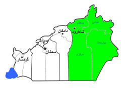 Shahrud County highlighted in Semnan Province