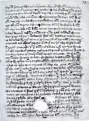 A single page from a 14th-century manuscript. Un-illustrated, it is covered with dozens of lines of Latin text. The parchment is aged and has some holes in it towards the bottom, which evidently existed before the text was written around them.