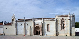 Monastery of Jesus of Setúbal - Church of the Monastery of Jesus. The main portal is in the middle of the façade; the apse is to the right.