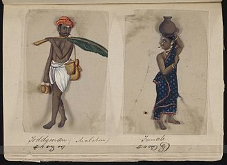 Caste - A page from the manuscript Seventy-two Specimens of Castes in India, which consists of 72 full-color hand-painted images of men and women of various religions, occupations and ethnic groups found in Madura, India in 1837, which confirms the popular perception and nature of caste as Jati, before the British made it applicable only to Hindus grouped under the varna categories from the 1901 census onwards.