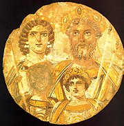 Tondo of the Severan family, with portraits of Septimius Severus, Julia Domna, Caracalla, and Geta. Geta's face has been deleted, because of the damnatio memoriae ordered by his own brother and murderer Caracalla.