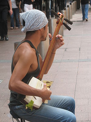 A busker playing a shamisen at a pedestrian ma...
