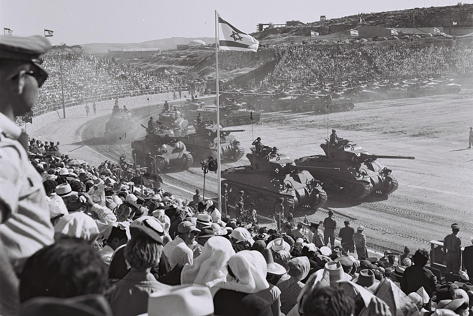 Sherman tanks during the Israel independence day parade, 1958 D733-100