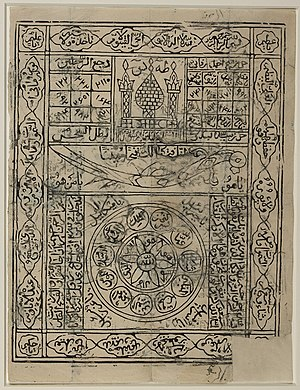 Zulfiqar - A stamped amulet, presumably made in India in the 19th century for a Shi'i patron. The amulet comprises magic squares, Qur'anic verses (including ayat al-kursi (2:255) running around the frame), divine or holy names, besides a depiction of Zulfiqar at the center.