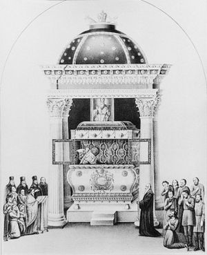 Athanasius III of Constantinople - Shrine of en. Athanasius at the Lubensk Monastery. Lithography, 1868