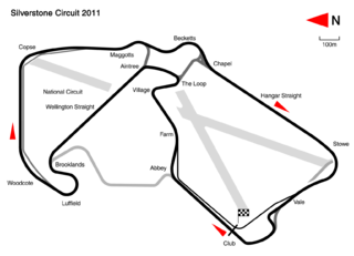 Silverstone Circuit motor racing circuit on the Buckinghamshire and Northamptonshire border, UK