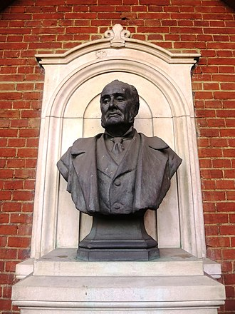 Royal Geographical Society - Bust of Sir Clements Robert Markham by F. W. Pomeroy next to the back entrance