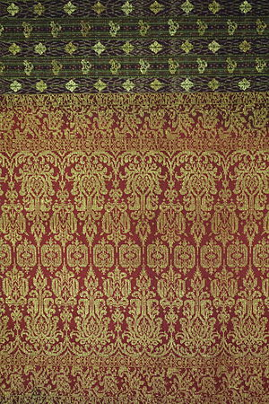 Supplementary weaving - (Terengganu, Malaysia, Sarong, late 19th century, silk, gold thread - Textile Museum of Canada - DSC01006.JPG