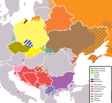 OUtline map of Eastern Europe, with colour coding to show the Slavic-speaking areas.