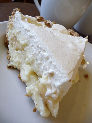 Slice of banana cream pie.
