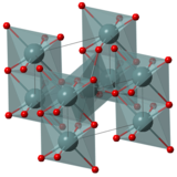 3D model of tin (IV) oxide, red atom is oxide