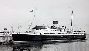 SS Snaefell (1948) - Image: Snaefell pictured berthed at the King Edward VIII Pier, Douglas