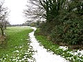 Snow covered footpath heading NE from Marshborough - geograph.org.uk - 1659639.jpg