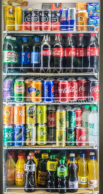 Sweetened beverage - Soft drinks displayed on the shelves of a Woolworths supermarket in Australia.