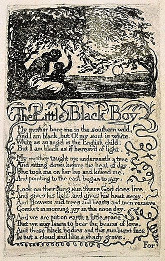 The Little Black Boy - Image: Songs of Innocence, copy U, 1789 (The Houghton Library) object 6 The Little Black Boy