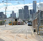 A photo of Southbank tram depots yard. Trams are stabled inside, C2s, W, and A classes.