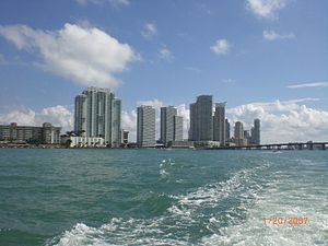 Bad Girls Club (season 5) - A southern portion of the South Beach skyline as seen from a boat on Biscayne Bay which the women from season 5 were during their three-month stay in the Bad Girls Club