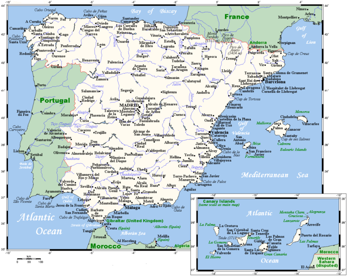Spain's cities and main towns. SpainOMC.png