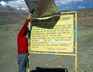 Kibber - This sign has a delightful message about some of the animals to be found in the Kibber Wildlife Sanctuary in Spiti