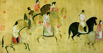 Emperor Xuanzong of Tang - Spring Outing of the Tang Court, by Xuanzong era artist Zhang Xuan, 8th century original