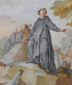 Alto of Altomünster - Saint Alto awakens the Alto Spring, (detail) by Josef Mages (1728-1769), c. 1769, in the Church of St. Alto and St. Birgitta, Altomünster Abbey, Altomünster, Bavaria, Germany