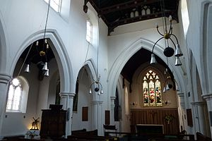 St Bene't's Church - Interior of the nave, looking towards the chancel (right) and north aisle (left)