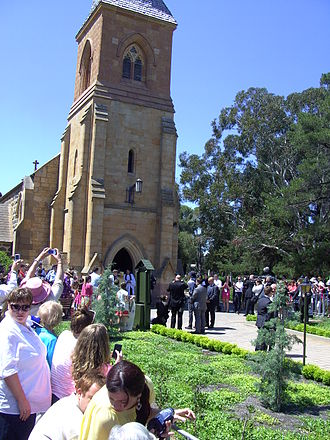 St John the Baptist Church, Reid - Queen Elizabeth II emerges from St John's after the service on 23 October 2011