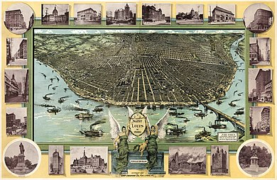 An illustrated map by F. Graf entitled St. Louis in 1896 St Louis Birdseye Map 1896.jpg