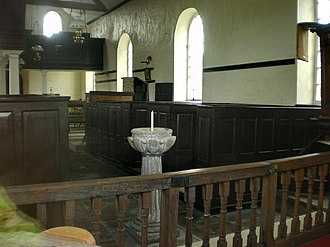 St Mary's Church, Tarleton - St Mary's Interior, showing font