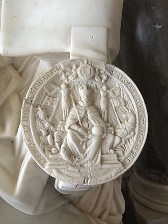 Great Seal of the Realm - Depiction of the Great Seal of the Realm (Charles I) on a 17th-century funerary monument (St Mary Magdalene's Church, Croome D'Abitot, Worcestershire)