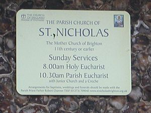 St Nicholas' Church, Brighton - Image: St Nicholas Church Plaque
