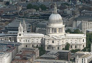 An aerial view of St Paul's Cathedral.