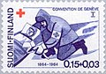 Stamp of Finland - 1964 - Colnect 46438 - Orderly with Wounded Man on a-Stretcher.jpeg