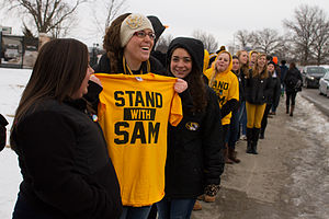 Michael Sam - Student counter-protesters form a wall in support of Sam.