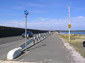 Stanley Embankment - The A5 crossing the Stanley Embankment towards Holy Island