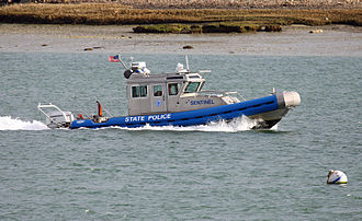 Boston Harbor - State Police inflatable patrols off Logan International Airport