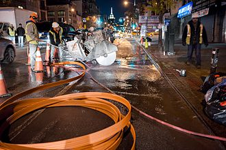 Stealth Communications - Stealth Microtrenching in Chinatown, installing micro-conduits