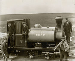 Steam locomotive 'Esau' on the Blake Dean Railway with Enoch Tempest in the cab and his son George on the coal.jpg