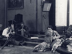 The Blizzard (1923 film) - Cinematographer Julius Jaenzon, Mauritz Stiller, Mary Johnson, and Einar Hanson during the production of the film