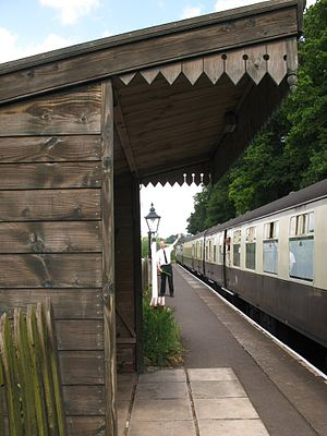 Stogumber railway station - A train to Minehead restarts after its call at Stogumber
