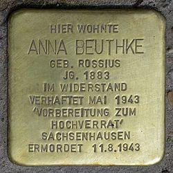 Photo of Anna Beuthke brass plaque