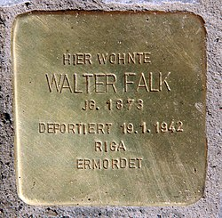 Photo of Walter Falk brass plaque