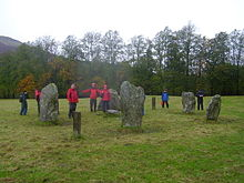 Drizzly image of stone circle with wet people