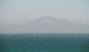 A view across the straits of Gibraltar.