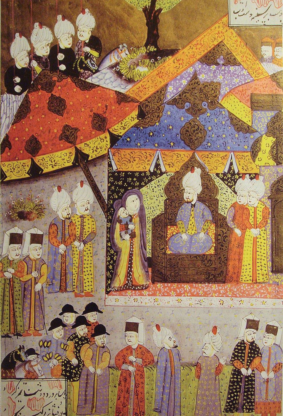Suleiman receiving Isabella and her son Sigismund circa 1540