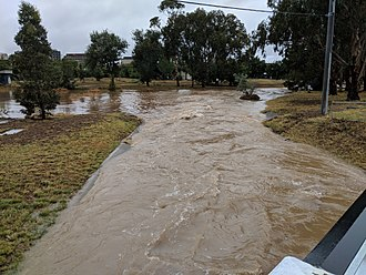 Sullivans Creek - Sullivans Creek in flood in 2018 near the Lyneham wet lands